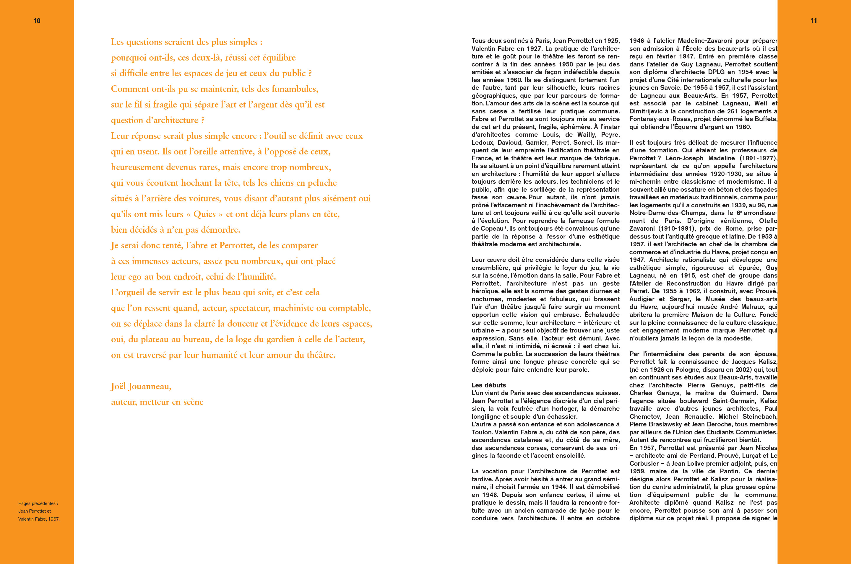 Monographie Fabre et Perrottet Architectes de théâtre Pages 10-11 Éditions Norma